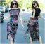 Lady Ribbon Colorful Graphic Printed Maxi Dress thumbnail 1