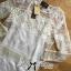 Lady Ribbon Long-Sleeve Dress in Off White thumbnail 4