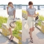 Lady Ribbon ชุดเซ็ทเสื้อสไตล์กะลาสี มินิเดรสกระโปรงพลีท สีครีม thumbnail 7