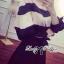 Lady Ribbon เสื้อปาดไหล่พิมพ์ลายทางประดับโบช่วงแขน thumbnail 6