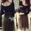 Lady Ribbon Fluffy Maxi Dress แม็กซี่ผ้ายืด กระโปรงผ้าซีทรู thumbnail 3