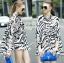 Lady Ribbon Zebra Camouflage Printed Shirt Dress thumbnail 2