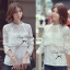 Lady Ribbon Pure White Lace Long-sleeve Blouse thumbnail 4