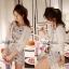 Lady Ribbon Partysu Korea มินิเดรสลูกไม้ลายดอกไม้ สีเทา สีขาว thumbnail 7