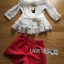 Lady Ribbon Chiffon Blouse and Red Hot Pants Set thumbnail 5