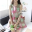 Lady Ribbon Graphic Style Dress เดรสลายดอก สีชมพูและเขียวอ่อน thumbnail 1