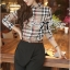 Lady Ribbon Burberry Style Plaid Shirt and Black Pants thumbnail 2