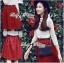 Lady Ribbon Set ชุดเซ็ทเสื้อผ้าลูกไม้สีขาวและกระโปรงสีแดงเบอร์กันดี thumbnail 7