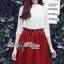 Lady Ribbon Set ชุดเซ็ทเสื้อผ้าลูกไม้สีขาวและกระโปรงสีแดงเบอร์กันดี thumbnail 1