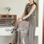 Lady Ribbon Maxi Dress เดรสยาวผ้าชีฟองผ่าข้าง ขายพร้อมเข็มขัด thumbnail 4