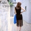 Korean Spot Sexy Nightclub Dress เดรสแขนกุดผ้าตาข่ายสีดำ thumbnail 10