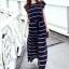 Maxi Dress เดรสยาวผ้าชีฟอง พิมพ์ลายขวาง สีน้ำเงิน สีขาว thumbnail 7