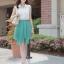 Cherry Dress เดรส ผ้าชีฟองเนื้อดี ตัดต่อสีทูโทน สีขาว-เขียว thumbnail 2
