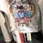 HOT SELL เสื้อยืดแขนยาว ผ้าCotton ปักลายเสือด้านหน้า สีเทา thumbnail 5
