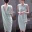 Lady Ribbon Jersey Dress เซ็ตเดรสผ้ายืดเกาะอก สีเขียว/สีดำ thumbnail 1