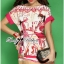Lady Ribbon Pink Illustrated Printed Mini Dress with Belt thumbnail 1