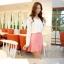 Mayuki Brand กระโปรงสั้นผ้า สีชมพูหวาน แต่งชายกระโปรงเก๋ๆ thumbnail 5