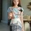 Seoul Secret ชุดเซ็ทเสื้อลายดอก กระโปรงโทนสีขาวดำ thumbnail 2