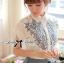 Lady Ribbon Embroidered Laser-Cut Shirt-Sleeved Shirt thumbnail 5