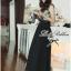 Lady Ribbon Chiffon Lace Maxi Dress เดรสยาวตัดต่อผ้าชีฟองและผ้าลูกไม้สไตล์วินเทจ thumbnail 5