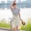 Lady Ribbon ชุดเซ็ทเสื้อสไตล์กะลาสี มินิเดรสกระโปรงพลีท สีครีม thumbnail 3
