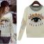 Cherry Dress Sweater สีเบจ ผ้าไหมพรมเนื้อดี ปักแปะลายด้านหน้า และแขนเสื้อ thumbnail 4