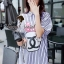 Stripy CC Bow Print Dress Shirt by Seoul Secret thumbnail 8