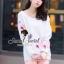 Seoul Secret ชุดเซ็ทเสื้อพิมพ์ลายสีพาสเทล กางเกงสีชมพู thumbnail 8