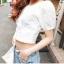 เสื้อผ้าฝ้ายสีขาว ปักฉลุ ยางยืดช่วงคอและแขน thumbnail 4