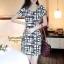 IceVanilla Striped Printed Dress เดรสผ้าพิมพ์ลายเส้นตารางขาวดำ thumbnail 7