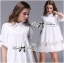 Lady Ribbon Insert Lace Pleated Embroidered Shirt Dress thumbnail 5