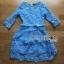 Lady Ribbon เดรสผ้าลูกไม้สีฟ้าพร้อมเข็มขัด thumbnail 5