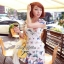 Lady Ribbon มินิเดรสแขนสั้น ผ้าลูกไม้ พิมพ์ลายผีเสื้อ สีแจ่ม thumbnail 2