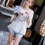 Seoul Secret เสื้อผ้าชีฟองเนื้อทราย สีขาว สีดำ แต่งเลื่อมสีเงิน thumbnail 2