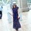 Maxi Dress เดรสยาวผ้าชีฟอง พิมพ์ลายขวาง สีน้ำเงิน สีขาว thumbnail 11