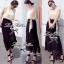 Lady Ribbon Maxi Dress เดรสยาวโทนสีครีมดำ ผูกโบว์ thumbnail 4