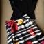 Lady Ribbon ชุดเซ็ทเสื้อเปิดไหล่สีดำ กระโปรงทรงสุ่ม ลายขวางดอกกุหลาบ thumbnail 11