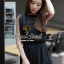 Seoul Secret จั๊มสูทผ้าชีฟองขาสั้น สีดำ แต่งเลื่อมที่แขน thumbnail 7