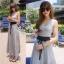 Odee Cutie Korean Style Maxi Dress ชุดเดรสยาวสีเทา แขนกุด thumbnail 5