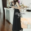 Lady Ribbon Chiffon Lace Maxi Dress เดรสยาวตัดต่อผ้าชีฟองและผ้าลูกไม้สไตล์วินเทจ thumbnail 3