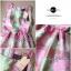 Lady Ribbon Graphic Style Dress เดรสลายดอก สีชมพูและเขียวอ่อน thumbnail 9