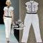 Chanel black&white line jumpsuit จั๊มสูทขายาว สีขาวดำ thumbnail 5