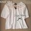 Lady Ribbon เสื้อผ้าคอตตอน สีชมพู ขาว กรมท่า ปักลายดอกไม้ thumbnail 14