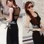 Lady Ribbon Maxi Dress เดรสยาวแขนกุด เปิดหลัง สีเทา สีดำ thumbnail 4