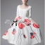 Lady Ribbon Painting Red Floral Print Midi Dress in White thumbnail 5