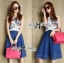 Lady Ribbon Graphic Print Crop Top and Denim Midi Skirt Set thumbnail 2