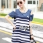Lady Ribbon Casual Style Cut-Out Denim Striped Dress thumbnail 3