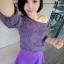 Lovely Purple Set ชุดเสื้อไหมพรม พร้อมกระโปรงสั้น ผ้ากำมะหยี่ สีม่วง thumbnail 9
