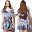 Lady Ribbon Blue Floral Printed Jumpsuit thumbnail 7