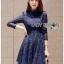 Lady Ribbon Dress เดรสผ้าลูกไม้สีนํ้าเงินเข้ม thumbnail 1